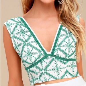 Free People White and Green Embroidered Top-Large